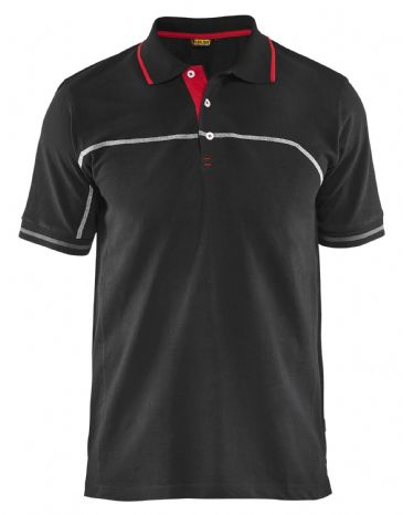 Blaklader 3389 Pique Polo Shirt (Black/Red)